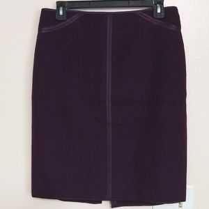 Ann Taylor Plum silky-piped wool rabbit hair skirt